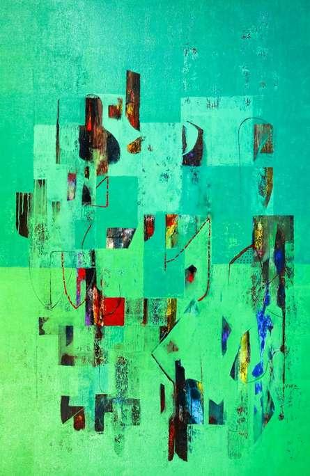 Abstract Acrylic Art Painting title Untitled 48 by artist Vivek Nimbolkar