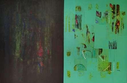 Abstract Acrylic Art Painting title Untitled 49 by artist Vivek Nimbolkar