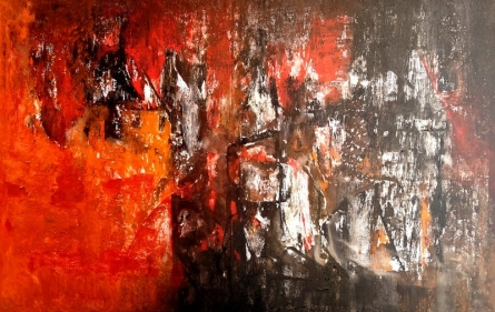 Abstract Acrylic Art Painting title Untitled 51 by artist Vivek Nimbolkar