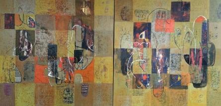 Abstract Acrylic Art Painting title Untitled 52 by artist Vivek Nimbolkar