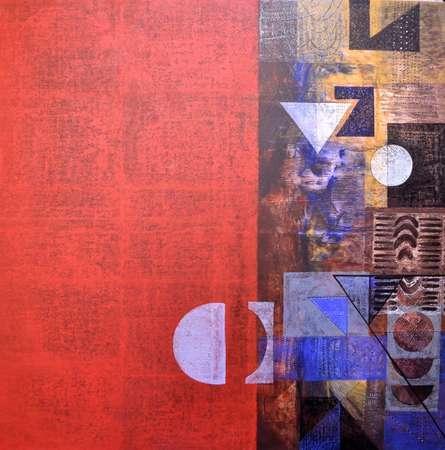 Abstract Acrylic Art Painting title 'Untitled' by artist Vivek Nimbolkar