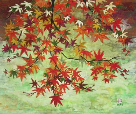 Maples In Autumn | Painting by artist Madhu Jain | tempera | handmade paper