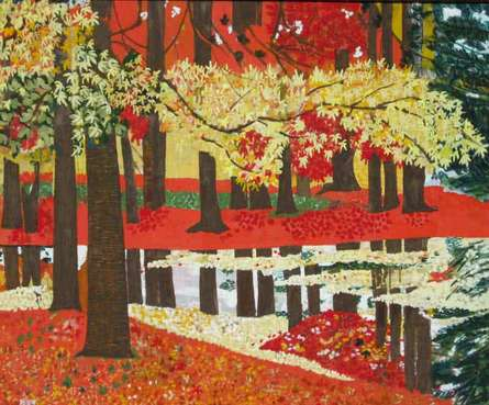 Landscape Tempera Art Painting title Tranquility by artist Madhu Jain