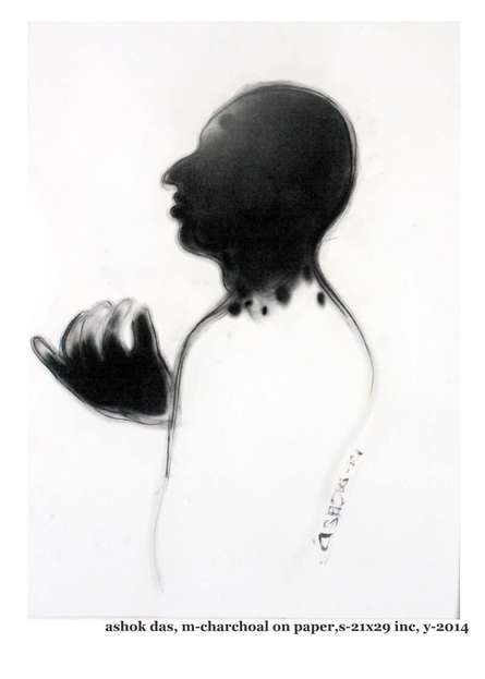 Figurative Charcoal Art Painting title 'Enlightenment' by artist Ashok Das