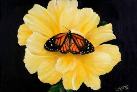 Realistic Oil Art Painting title 'Wings On a Flower' by artist Abarna