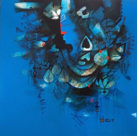 Figurative Oil Art Painting title 'Shiva Shakti' by artist Amol Pawar