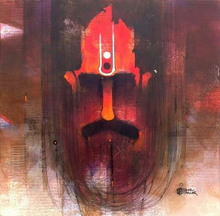 Figurative Oil Art Painting title 'Sadhu I' by artist Amol Pawar