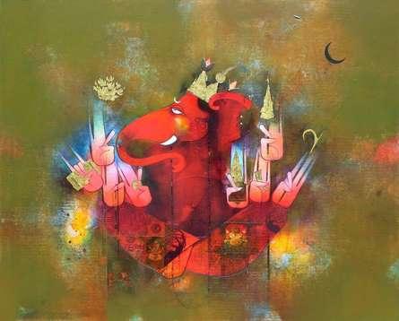 Dev Gajanan | Painting by artist Amol Pawar | mixed-media | canvas