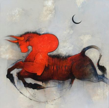 Nandi | Painting by artist Amol Pawar | mixed-media | canvas