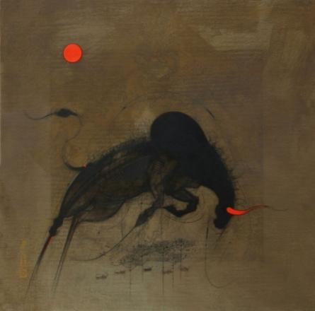 Figurative Oil Art Painting title 'Bull I' by artist Amol Pawar