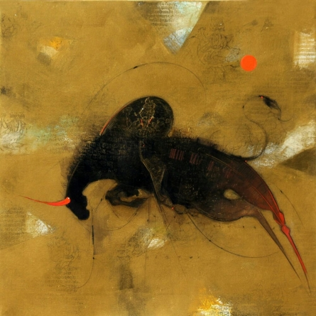 Animals Mixed-media Art Painting title 'Bull 2' by artist Amol Pawar