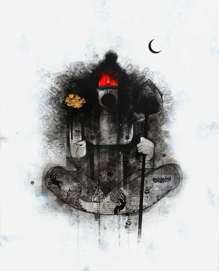 Religious Mixed-media Art Painting title 'Hanuman Ji' by artist Amol Pawar