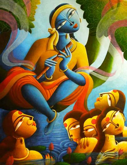 Religious Acrylic Art Painting title 'Krishna With Gopiyan' by artist Dhananjay Mukherjee