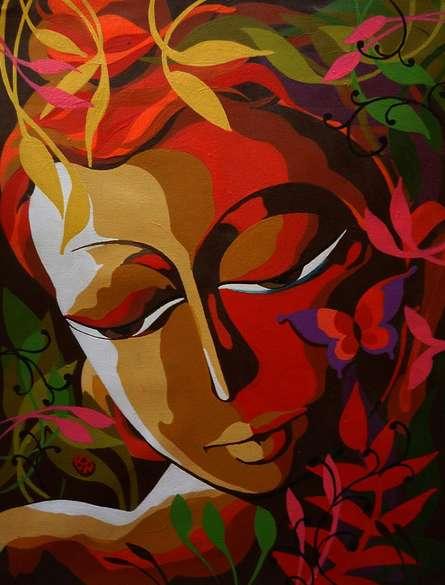 Dhananjay Mukherjee | Acrylic Painting title Krishna I on Canvas | Artist Dhananjay Mukherjee Gallery | ArtZolo.com