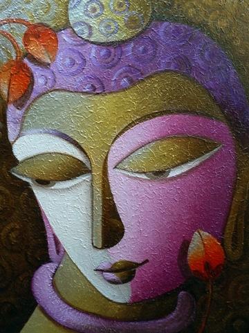 Dhananjay Mukherjee Paintings | Religious Painting - Buddha 1 by artist Dhananjay Mukherjee | ArtZolo.com