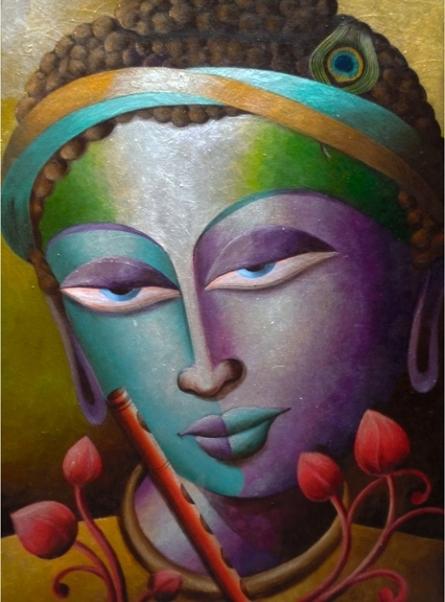 Religious Acrylic Art Painting title 'Mayavi 2' by artist Dhananjay Mukherjee