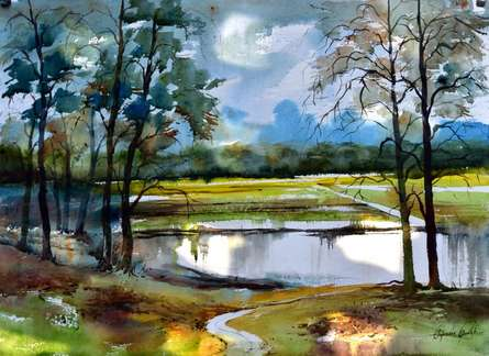 RAINY SEASON | Painting by artist BIJENDRA'S WORKS | acrylic | WATER COLOR ON PAPER