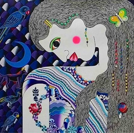 Ravi Kattakuri Paintings | Acrylic Painting - Ragini by artist Ravi Kattakuri | ArtZolo.com