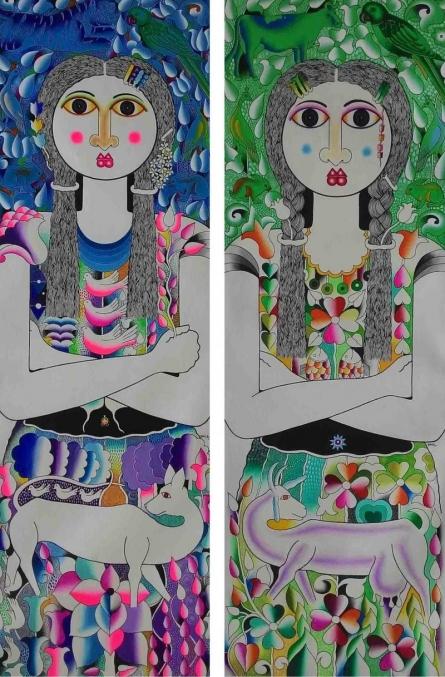 Twins | Painting by artist Ravi Kattakuri | acrylic | Canvas