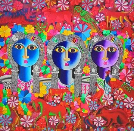 Figurative Acrylic Art Painting title Friends by artist Ravi Kattakuri
