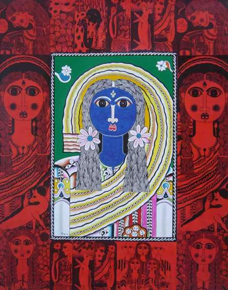 Figurative Acrylic Art Painting title 'Blue Girl' by artist Ravi Kattakuri
