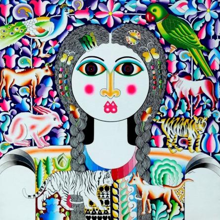 Figurative Acrylic Art Painting title Flower And Girl by artist Ravi Kattakuri