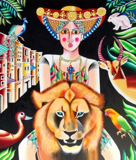 Figurative Acrylic Art Painting title Lion And Woman by artist Ravi Kattakuri