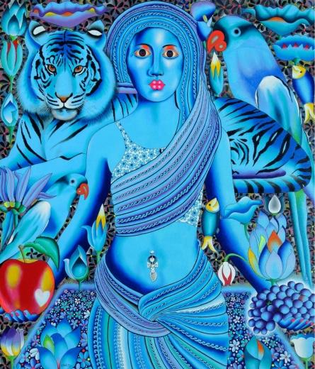 Figurative Acrylic Art Painting title Tiger And Sweety by artist Ravi Kattakuri