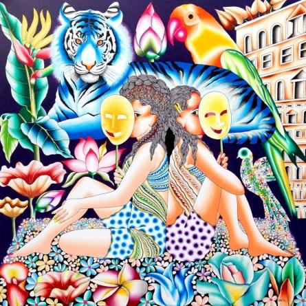 Figurative Acrylic Art Painting title Young Girl by artist Ravi Kattakuri