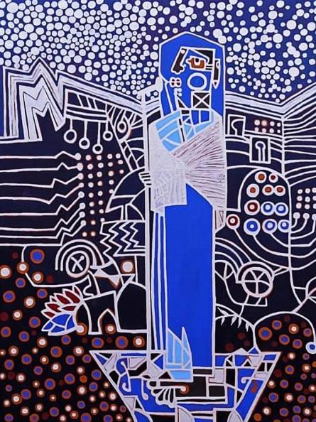 Anup Shrivastav | Acrylic Painting title Folk Studio 12 on Canvas | Artist Anup Shrivastav Gallery | ArtZolo.com