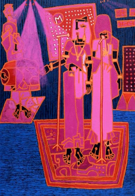 Figurative Acrylic Art Painting title 'Folk Studio 7' by artist Anup Shrivastav