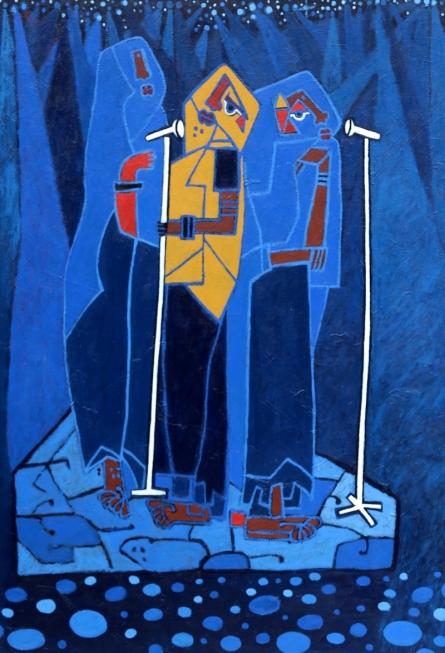 Anup Shrivastav | Acrylic Painting title Folk Studio 8 on Canvas | Artist Anup Shrivastav Gallery | ArtZolo.com
