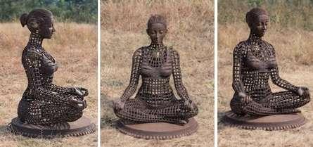 Yoga Lady 2 | Sculpture by artist Prabhakar Singh | Welded Iron,Brass