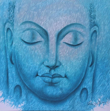 Religious Acrylic Art Painting title 'Buddha 3' by artist Prince Chand