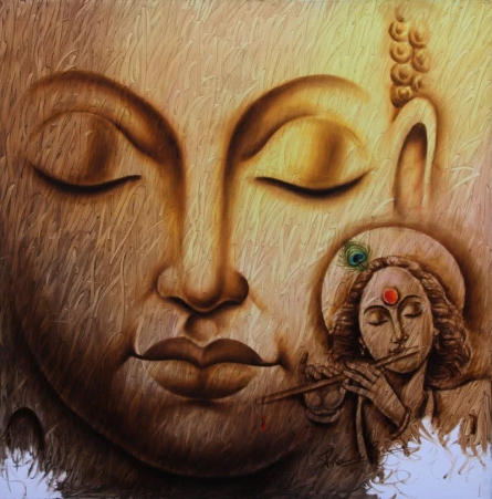 Prince Chand Paintings | Acrylic Painting - Buddha 1 by artist Prince Chand | ArtZolo.com