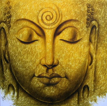 Prince Chand | Acrylic Painting title Buddha on Canvas | Artist Prince Chand Gallery | ArtZolo.com