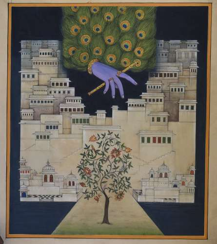 Pushkar Lohar Pichwai | Mixed-media Painting title Pichwai Krishna Leela on Cloth | Artist Pushkar Lohar Pichwai Gallery | ArtZolo.com