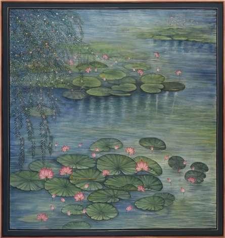 Nature Mixed-media Art Painting title 'Kamalan Ki Pichwai' by artist Pushkar Lohar Pichwai