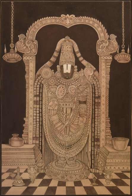 Tirupati Balaji Pichwai | Painting by artist Pushkar Lohar  Pichwai | mixed-media | Cloth