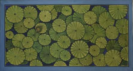 Lotus Leaves Pichwai | Painting by artist Pushkar Lohar  Pichwai | mixed-media | Cloth