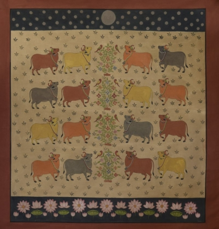 Cows Pichwai | Painting by artist Pushkar Lohar  Pichwai | mixed-media | Cloth