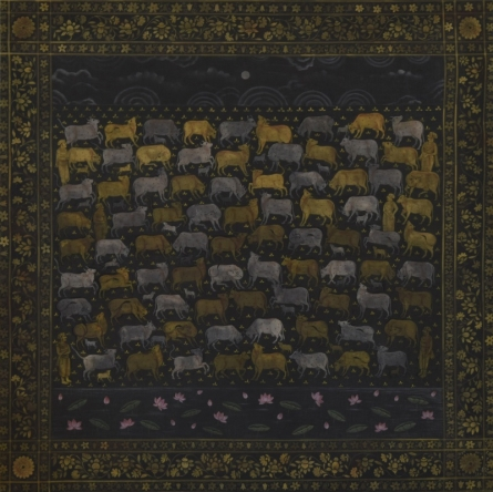 Pushkar Lohar | Pichwai Cows Mixed media by artist Pushkar Lohar on Cloth | ArtZolo.com