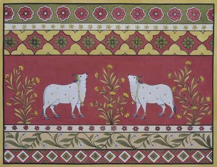 Traditional Indian art title Pichwai 9 on Cotton Cloth - Pichwai Paintings