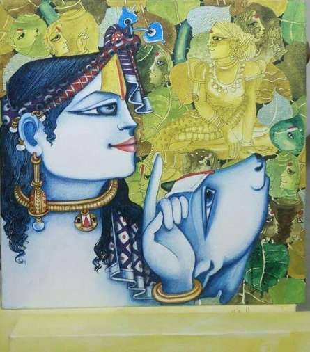 Religious Acrylic Art Painting title Radha with Cow by artist Saraswathi Lingampally