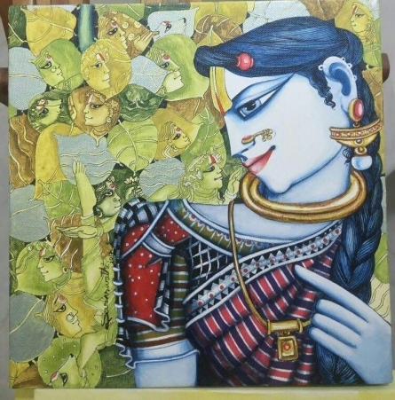 Religious Acrylic Art Painting title Radha in Deep Thoughts by artist Saraswathi Lingampally