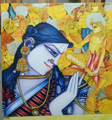 Saraswathi Lingampally | Acrylic Painting title Radha on Canvas | Artist Saraswathi Lingampally Gallery | ArtZolo.com