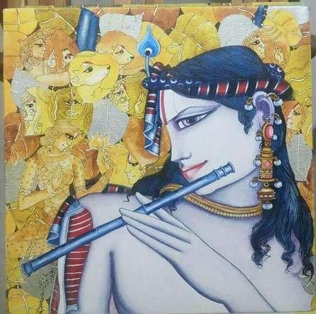 Krishna Playing Flute | Painting by artist Saraswathi Lingampally | acrylic | Canvas