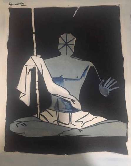 Father OF nation Mahatma Gandhi | Painting by artist M F Hussian | acrylic | Paper