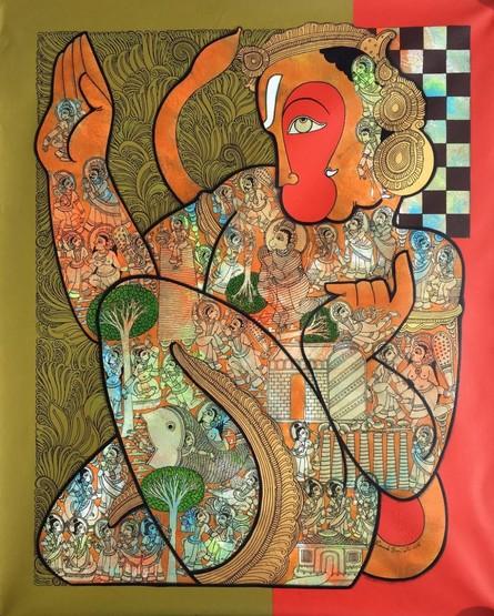 Ramesh Gorjala | Acrylic Painting title Hanuman 1 on Canvas | Artist Ramesh Gorjala Gallery | ArtZolo.com