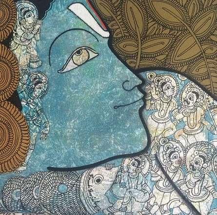 Religious Acrylic Art Painting title 'Vishnu' by artist Ramesh Gorjala